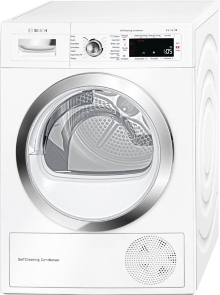 Bosch WTWH7560GB Heat Pump Dryer. 9Kg capacity. Fully electronic control dial. Special programmes include, Woollens, Towels and Delicate Fabrics. Home connectivity. Sensitive drying. Anti-Vibration design. 2 Year warranty.