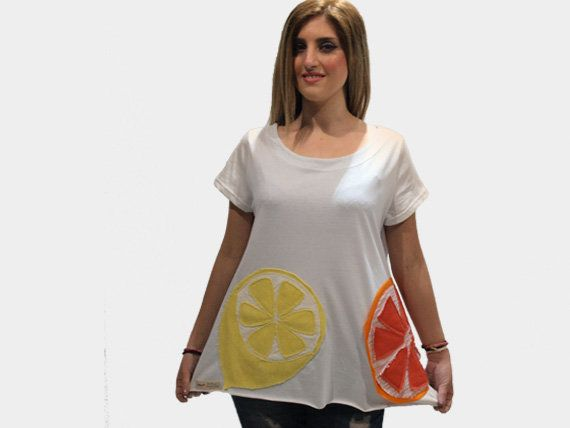 White organic cotton top with lemon and orange/ women white summer top/ white casual top/ short sleeves top/ cotton loose top/ handmade top by PepperFashion on Etsy