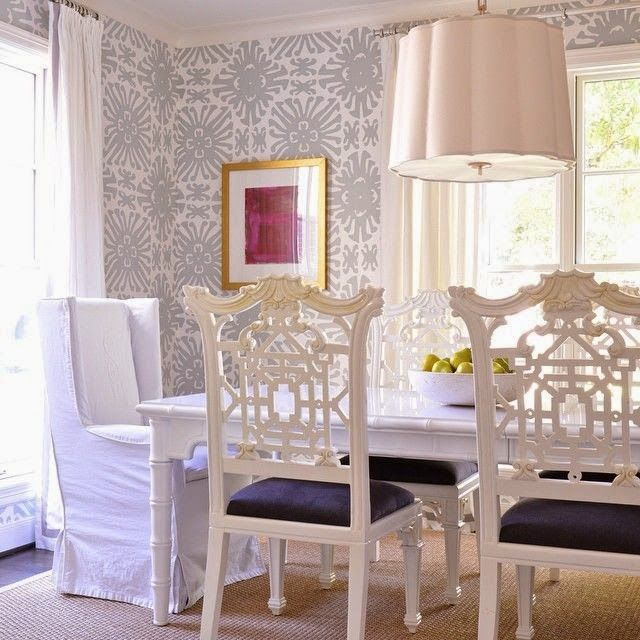 Gorgeous Quadrille Wallpaper, Chinoiserie Chairs, Scalloped Pendant. Dining  Room Perfection. | Swatch This | Dining Room Wallpaper, Chippendale Chairs,  ...