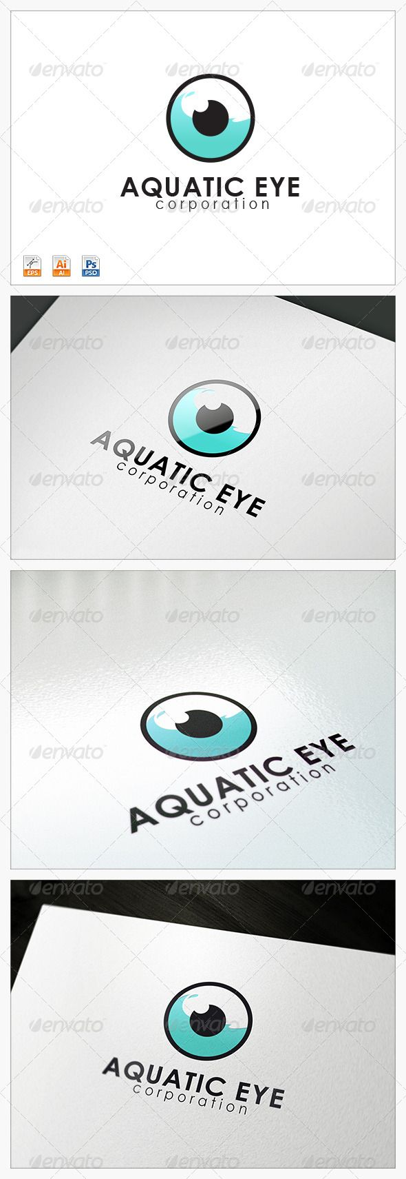 Aquatic Eye logo  #GraphicRiver         Features :  - File Types: AI, EPS , PSD  - Colour Versions: Normal colour  - CMYK 100% Print Ready Vectors  - Editable Colours  - Editable Fonts  Fonts used in the design: Century Gothic (download links include in help file)  Note: The mockups for presentation only should you need any further assistance or graphic work, don't hesitate to contact me. Please take a moment to rate this item,Thank you! contact:           Created: 14February13