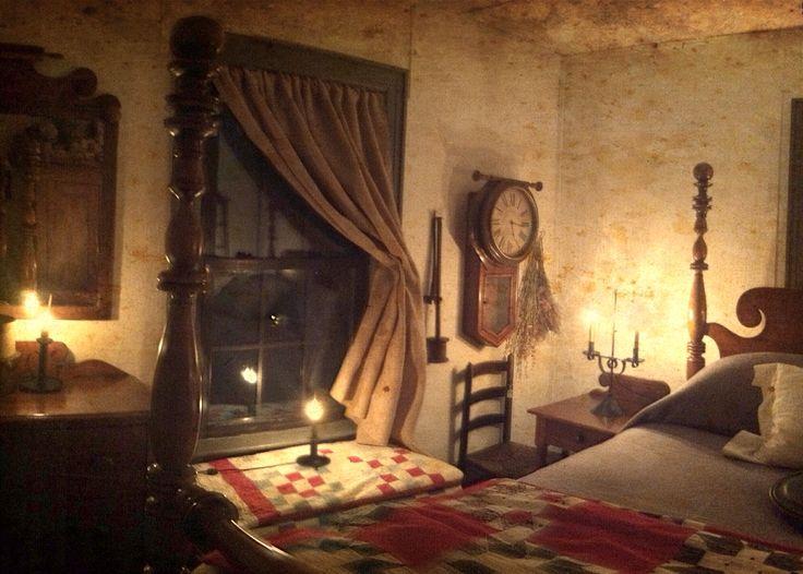 colonial bedroom dimly lit primitive