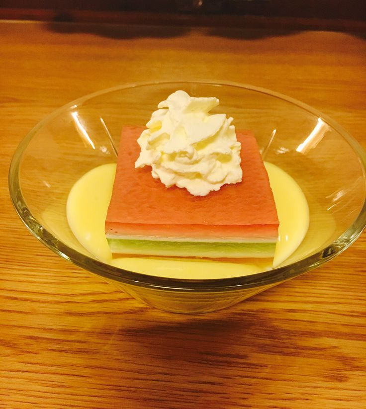 My first attempt making layered jello, with homemade custard
