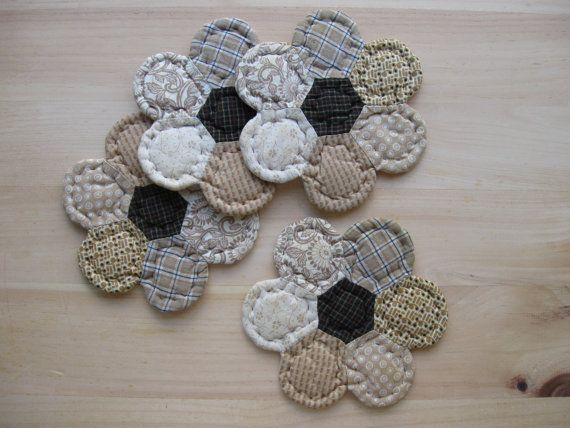 Quilted Coasters Mug Mats Fabric Coasters Sunflower by dlf724