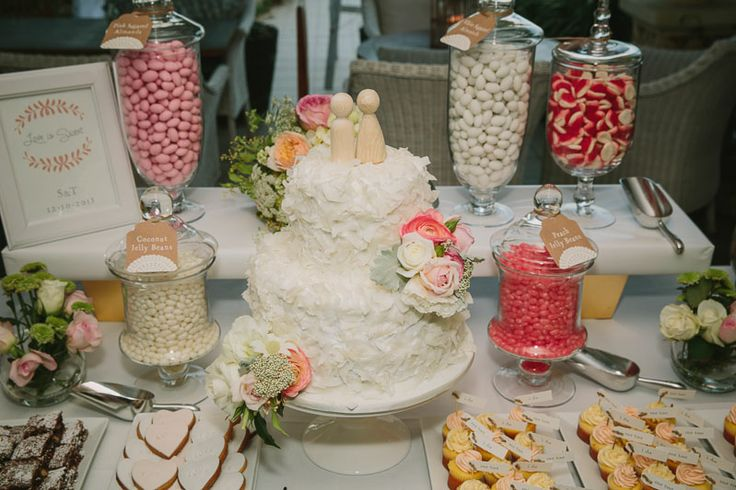 Our Ultimate Indulgence lolly buffet/dessert table looked so beautiful paired with this stunning cake made by a friend of the bride's. Love is sweet.  Photo by David Campbell Imagery