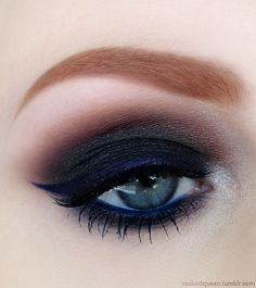 dark smokey eyes are always in fashion, the brown crease and blue liner gives the mystic touch to the eye makeup, highlighted inner corners give the illusion of bigger eyes