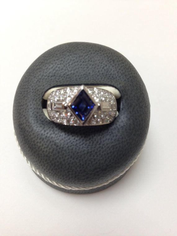 18k Sapphire and White Gold Diamond Ring by AraratDesigns on Etsy, $6500.00