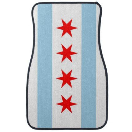 #Set of car mats with Flag of Chicago Illinois - #trendy #gifts #template