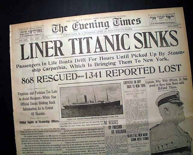 "Historic Newspaper - THE EVENING TIMES, Pawtucket, Rhode Island, April 16, 1912  ""LINER TITANIC SINKS"""