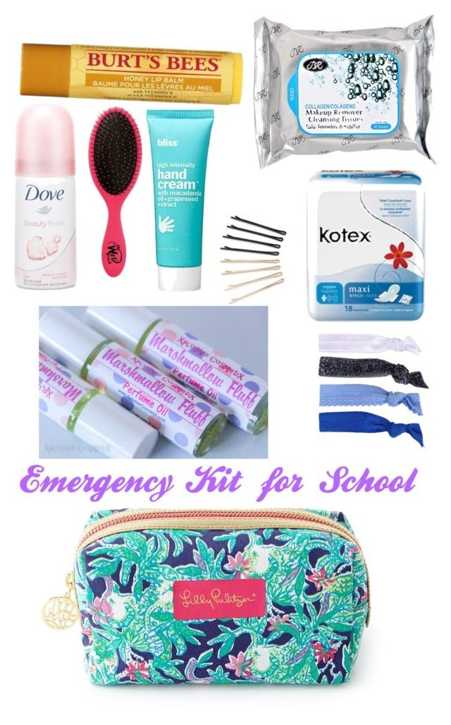 """Emergency Kit for Girls at School!!!"" by valgator ❤ liked on Polyvore"