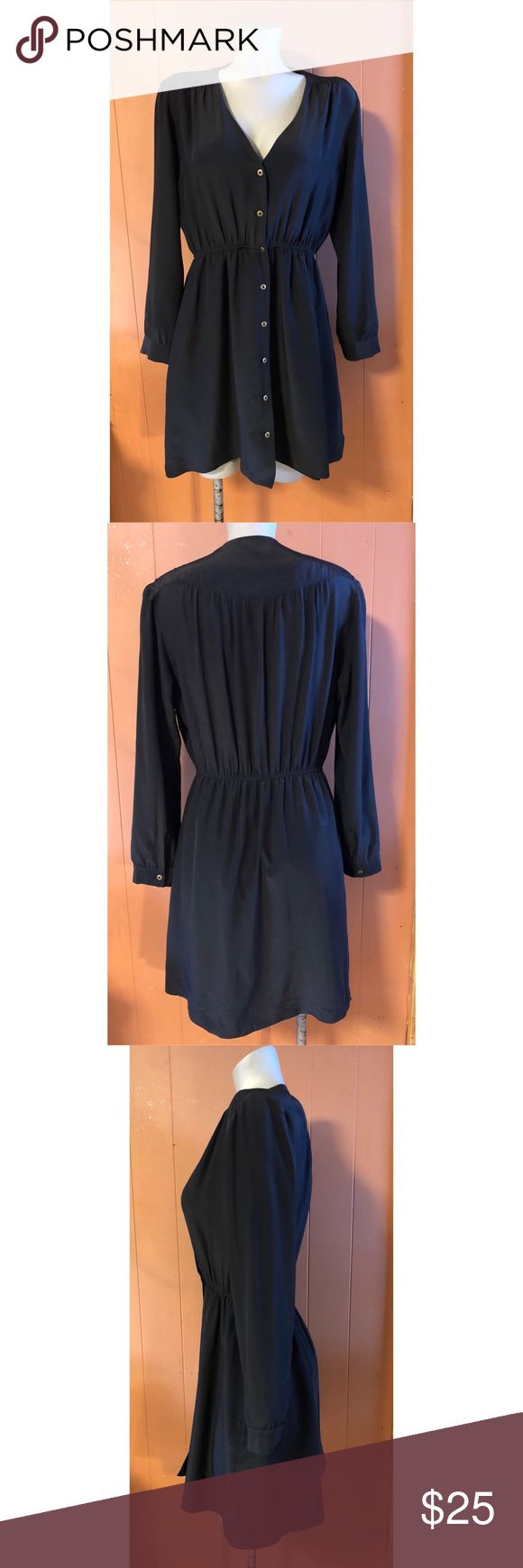 Anthropologie MYNE Black Silk Shirt Dress, size 6 Anthropologie MYNE Black Silk Shirt Dress, size 6. This 100% silk dress has a v-neck and buttons down the front. It has an elastic waist for a flattering fit and feminine figure. The skirt is fully lined in black silk. A perfect dress for any season! (958) Anthropologie Dresses