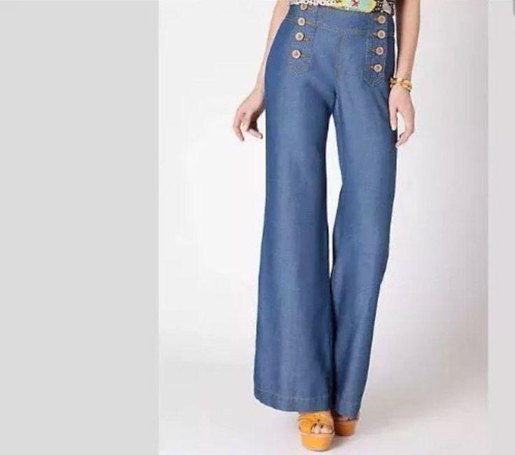 ELEVENSES Anthroplogie Women's Chambray Blue Sailor Pant Bell Bottom Jean Size 4 #ELEVENSES #WideLeg
