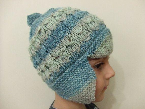 Children Hat Baby Hat Baby Knit Hat Children Green Hat by SELINCE