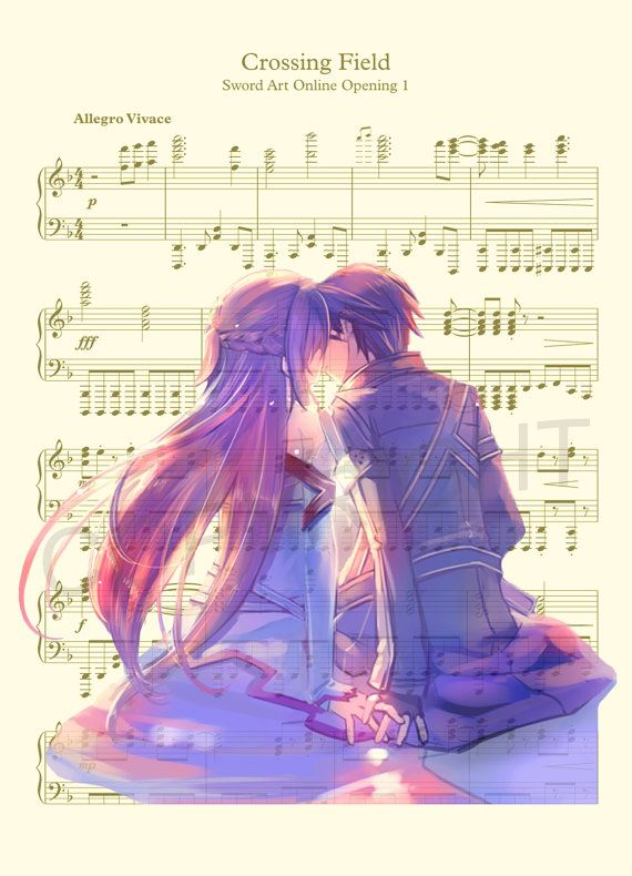 Here is an art print of Kirito and Asuna from Sword Art Online. This is perfect for any Sword Art Online fanatic!  Be sure to let us know which print you prefer: 1) Sheet Music Background or 2) Dictionary Background.  We print this on quality ivory card stock paper, which measures approximately 8.5x11, and ship it in a heavy-duty envelope to ensure it arrives intact. FRAME NOT INCLUDED.  11x17 Poster: $20.00 18x24 Poster: $30.00 24x36 Poster: $45.00  Take advantage of our Buy 2 Prints, Get 1…