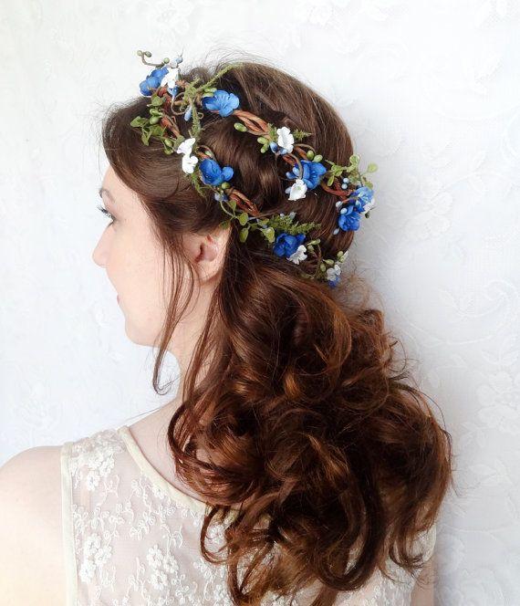 royal blue flower headpiece blue wedding hair wreath bridal hair accessory bluebell rustic woodland wedding accessories wedding things