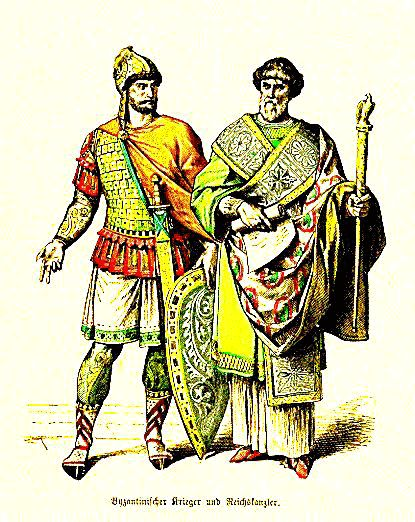 Soldier and Chancellor  Alb (a long white tunic with narrow sleeves and slit for the head tied with a belt