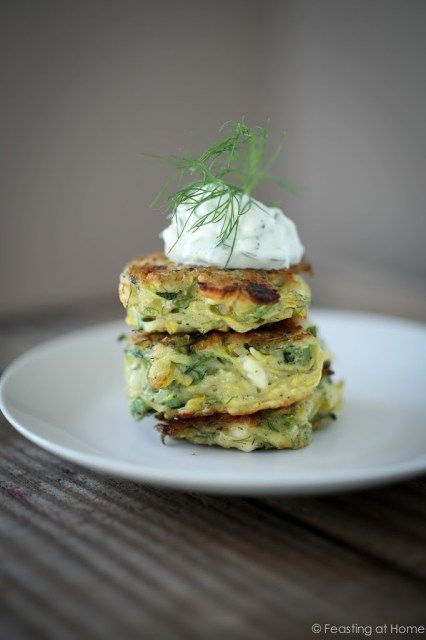 Zucchini Fritters with Dill, Feta and Tzatziki | Feasting At Home