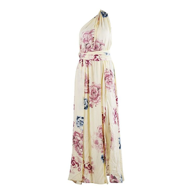 Pretty Floral Printed Maxi Dress Size: XS, S, M, L Color: Beige Style: Casual, Maxi, Beach, Resort