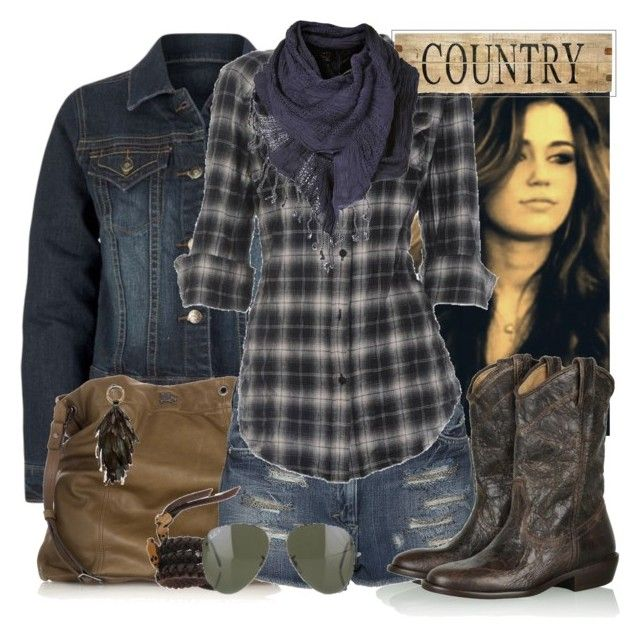 """""""Party in the USA!"""" by girley ❤ liked on Polyvore featuring Steve Madden, Burberry, Elizabeth and James, Ray-Ban, Raven Kauffman, plaid, cowboy boots, miley cyrus, denim jacket and aviators"""
