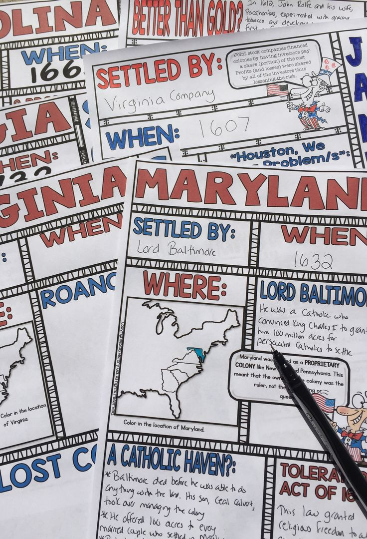Engage students with these Southern Colonies doodle notes. These fun doodle notes cover the colonization of Jamestown and Virginia, Maryland, Carolina, and Georgia.
