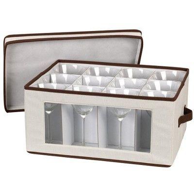 Household Essentials Stemware Goblet Storage Chest, Brown/Tan