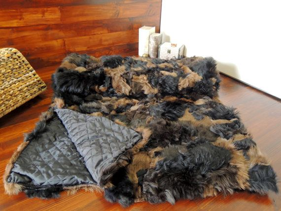 Genuine Toscana Sheepskin Blanket  Soft Dyed wool  by MILABERT