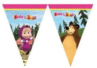 Masha and the Bear Cartoon, Masha and the Bar Flags   PartyWeb.us Banderín Masha y el Oso