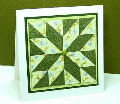 handmade quilt card ... pieced block forms a star .. 4X4 square pieces cut on the diagonal ... shades of green ... like it!