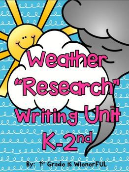 """FREEBIES in the Download Preview! Weather """"Research"""" Writing Unit! THIS UNIT IS COMPLETELY UPDATED and HAS EVEN MORE ACTIVITIES!!!! Great for """"Mid Year Kinders""""-2nd Grade"""