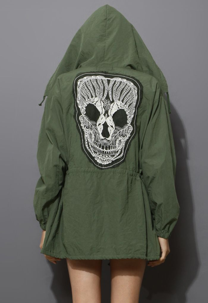Lace Skull Detail Armygreen Military Coat
