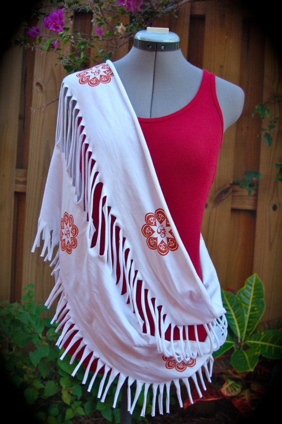 Upcycled Tshirt Scarf Shawl Om Flower Hand by UniverSoulWear, $38.50