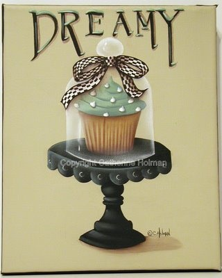 Catherine Holman Folk Art: Dreamy Cupcake Painting