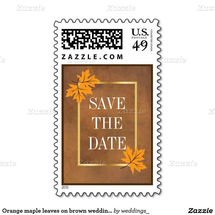 Orange maple leaves on brown wedding Save the Date Postage