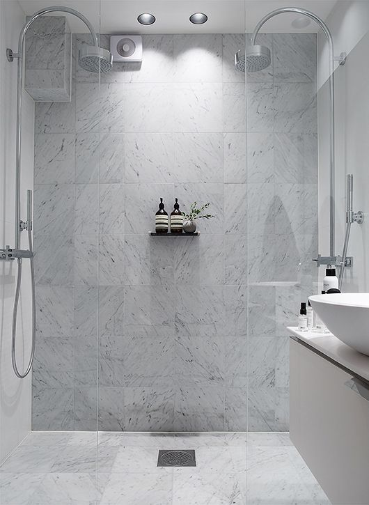 use of marble tiles. no natural light