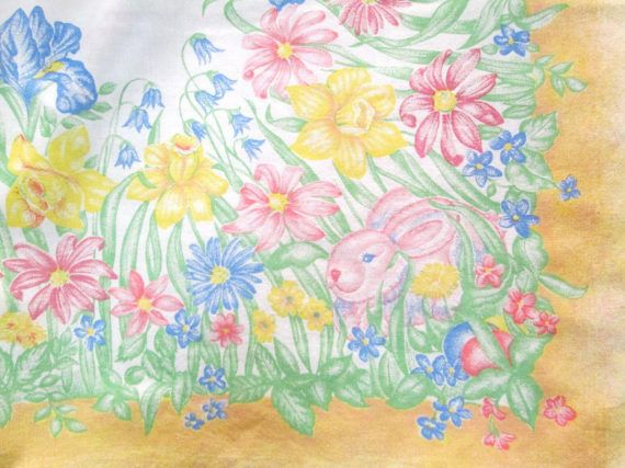 Vintage Easter Tablecloth Spring Printed Pastel Table Cloth Bunnies Chicks  Floral Yellow Pink Blue Green FlowersTable Linens