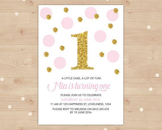 Girls gold glitter and pink confetti invitation Digital File