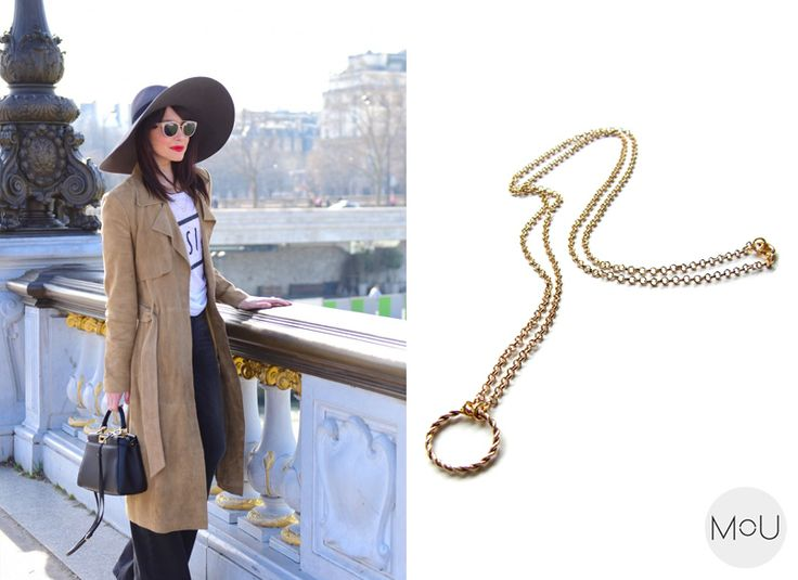 Minimalist necklace wreath in gold by Mou label styled by Lornaluxe