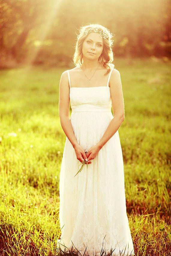 Empire Silhouette Long Wedding Dress Lubov by ApilatCreativeAtelie, $750.00