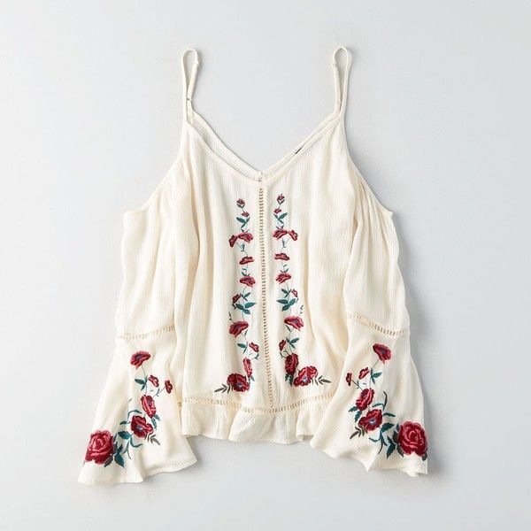AE Cold Shoulder Embroidered Top ($50) ❤ liked on Polyvore featuring tops, white, white embroidered top, white bell sleeve top, open shoulder tops, sheer tops and see through tops