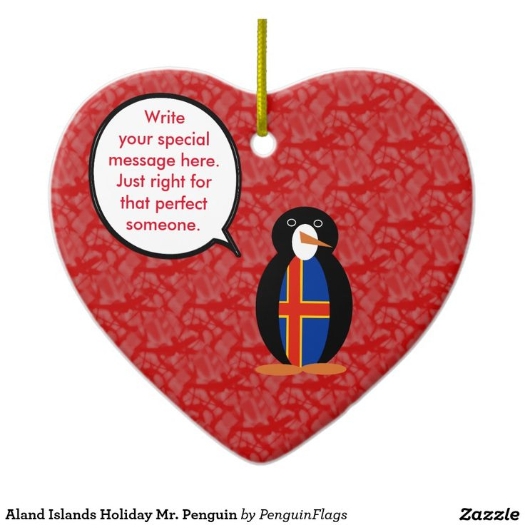 Heart Shaped Ornament with Aland Islands Holiday Mr. Penguin for your Christmas tree or anytime.