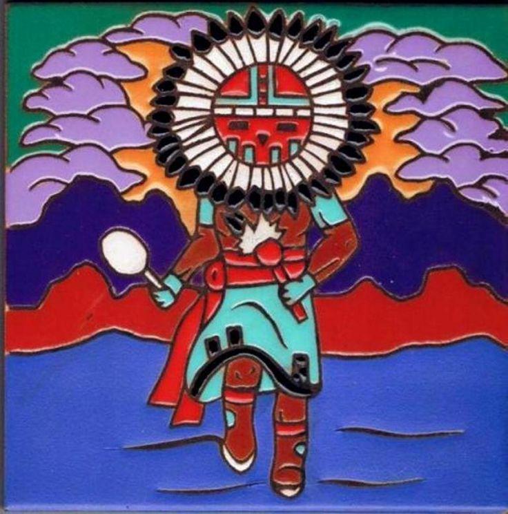 Kachina Sun Dancer Southwestern Art Ceramic Tile kitchen Trivet