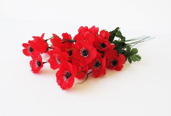 GRAND SALE 50 Artificial Flowers Silk Poppy by Flowersfield