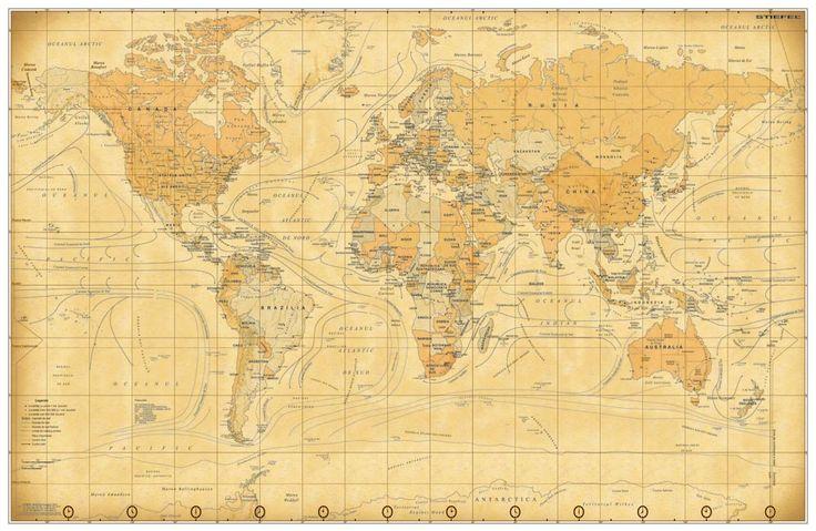 Harta Lumii Vintage - sipci de lemn - tipar digital 100 X 70 CM - harta lumii vintage, harta lumii