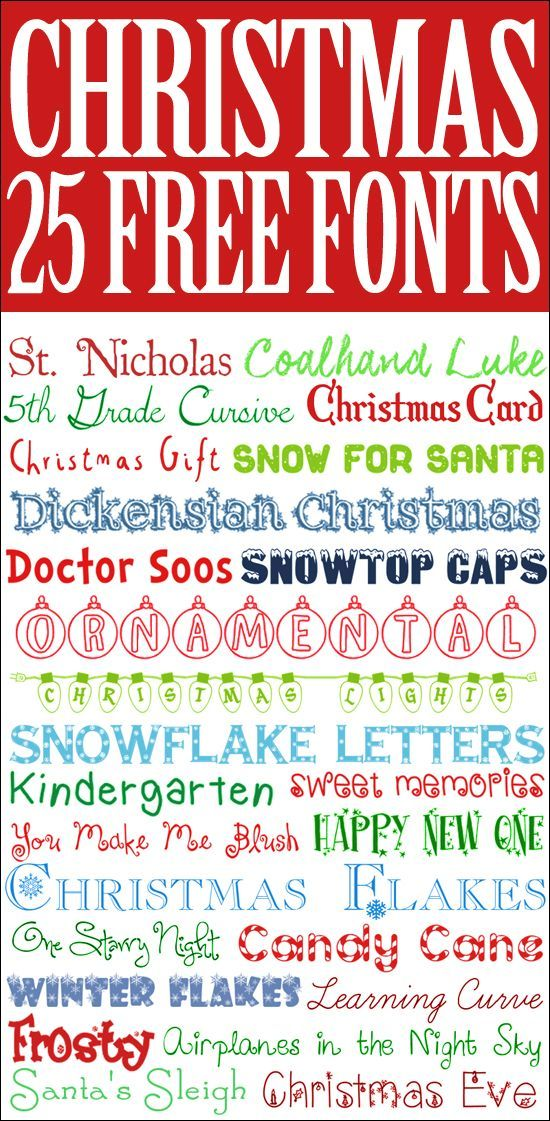25 FREE Christmas Fonts. Perfect for Christmas cards, invitations, or printables!