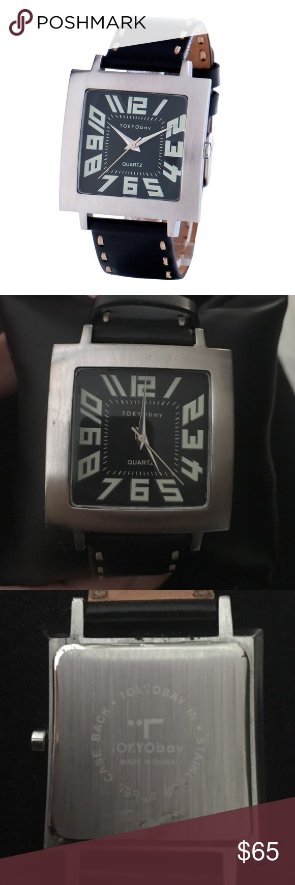 Tokyo Bay Tram Watch BLACK New in Box Tokyo Bay watch . Can be unisex for Men or Women. Comes with extra wristband . Tiny barely noticeable mark/scratch on front border & needs a new battery. Can be replaced for $7-10 . Black Italian leather strap & brushed brass silver finish case. Mineral glass lens. Tokyo Bay Accessories Watches