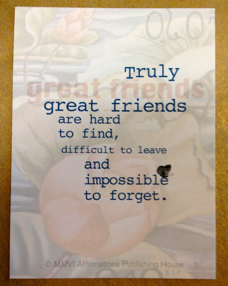 """Friendship affirmation: """" Truly great friends are hard to find, difficult to leave and impossible to forget."""""""