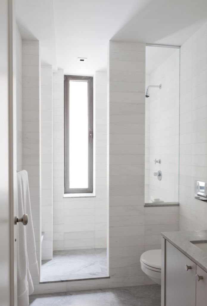 like the stacked marble tile,  nice modern take on traditional tile