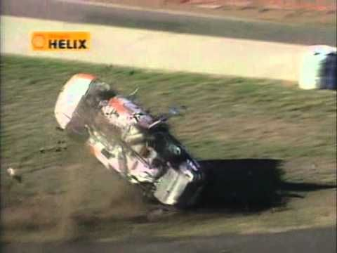 #V8supercars | #CraigLowndes at Calder Park in 1999. Massive Crash and roll over in his #v8 #Holden. True #sportsmanship shown here, makes you proud to be an Aussie!