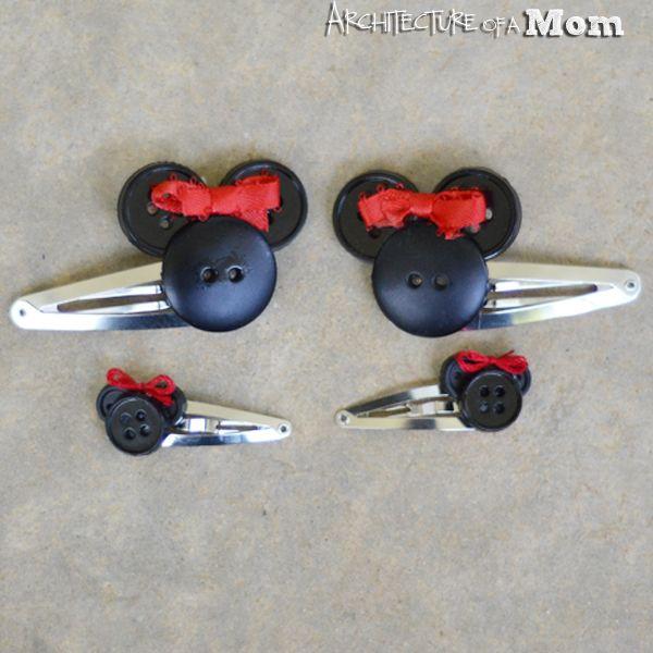 DIY Minnie Mouse Button Hair Clips / Barrette / Disney Craft / Gift Idea / Christmas Present / Homemade Stocking Stuffer Idea
