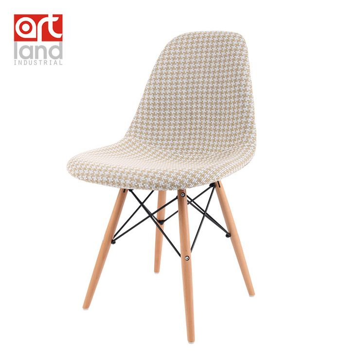 Upholstered side chair fabric seat wood leg dowel base Dining ...