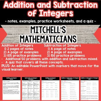 This is a no prep product.  With this product you get a total of 3 pages of notes on adding and subtracting integers.  You also get 2 pages of example problems as well.  This product has over 100 addition problems, over 150 subtractions problems, and another 50 problems with addition and subtraction mixed.